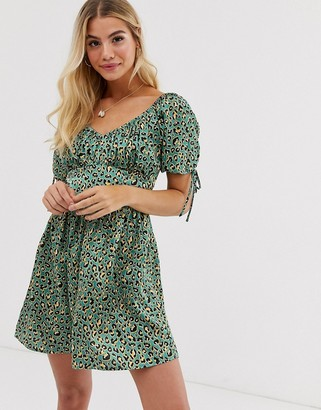 Moon River leopard print bustier mini dress