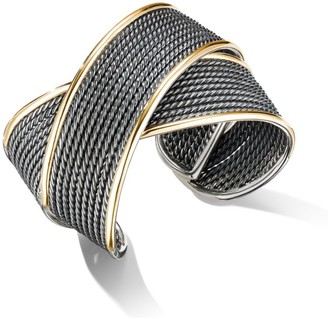 David Yurman Origami Large Blackened Sterling Silver & 18K Yellow Gold Crossover Cuff
