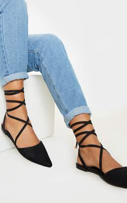 PrettyLittleThing Black Point Toe Ankle Tie Flat