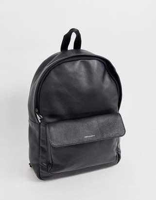 Asos Design DESIGN leather backpack in black with foil logo emboss