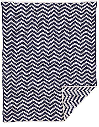 Living Textiles Chenille Blanket, Navy Chevron by Baby