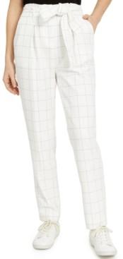 Bar III Belted Windowpane Slim Straight-Leg Pants, Created for Macy's