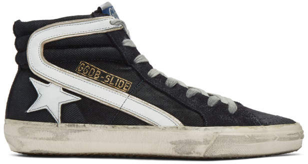 Golden Goose Navy Denim Slide High-Top Sneakers