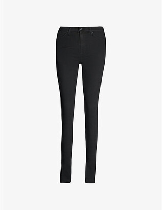 7 For All Mankind Women's Rinsed Black Illusion Luxe Slim-Fit High-Rise Jeans, Size: 24