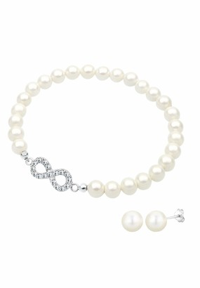 Elli Women's 925 Sterling Silver Xilion Cut Crystal Simulated Pearl Jewellery Set - 18cm length