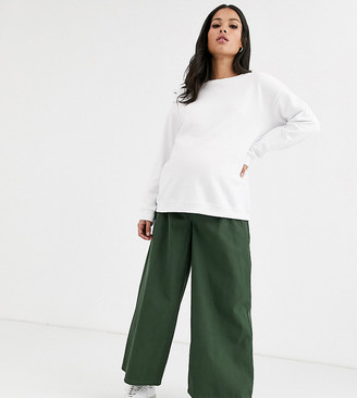 Asos DESIGN Maternity easy wide leg canvas pant with elasticated back