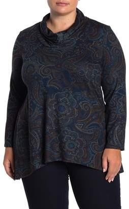 GRACE ELEMENTS Cowl Neck Paisley Top (Plus Size)