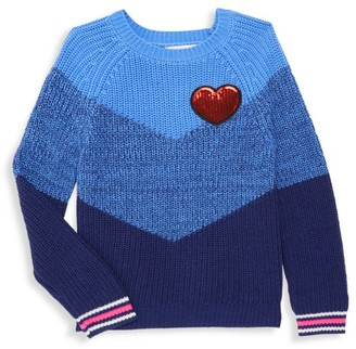 Design History Little Girl's Sequin Heart Colorblock Crewneck Sweater