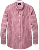 Classic Fit Magenta Stripe Washed Oxford Cotton Shirt Single Cuff Size Xl By Charles Tyrwhitt