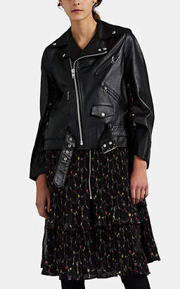 Comme des Garcons Junya Watanabe Women's Floral-Inset Leather Biker Jacket - Black