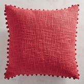 Pier 1 Imports Basketweave Pompoms Red Pillow