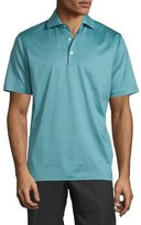 Peter Millar Striped Lisle Knit Polo Shirt, Dusty Sky