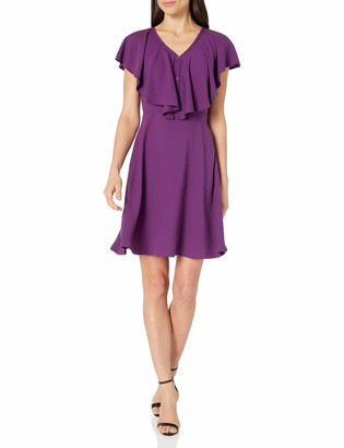 Lark & Ro Women's Ruffled V-Neck Fit and Flare Dress