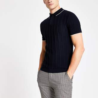 River Island Navy knitted stitch muscle fit polo shirt