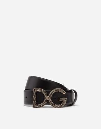 Dolce & Gabbana Belt In Calfskin With Rhinestone Logo Buckle