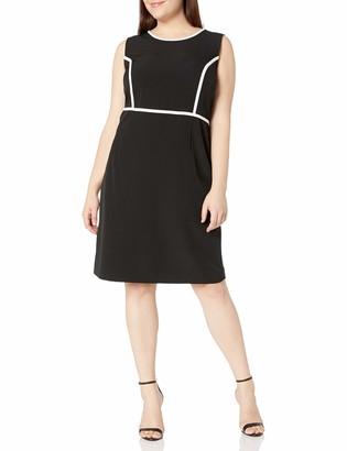 Kasper Women's Plus Size Sleeveless Crepe Sheath Dress with White Piping