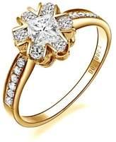 FineTresor 1.42 Carat Princess Cut Diamond Multistone Ring on 14K Yellow - Gold