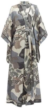 Carine Gilson Envol Lake-print Silk Robe - Womens - Multi