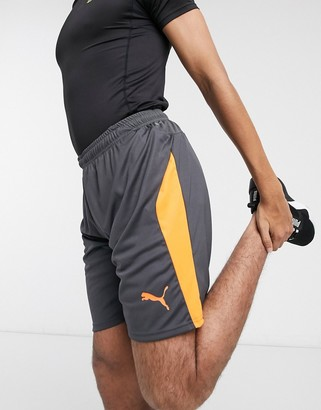 Puma Football shorts in grey and orange