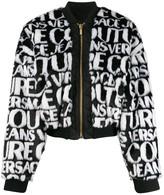Versace logo faux-fur jacket
