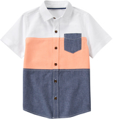 Crazy 8 Peach & Blue Block Woven Chambray Button-Up - Boys