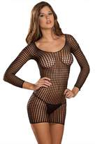 Rene Rofe Women's Crochet Net Long Sleeve Dress