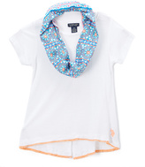 U.S. Polo Assn. White Short-Sleeve Top & Blue Infinity Scarf - Girls