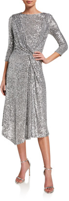 St. John Starlight Sequined Twisted Dress