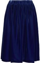 Comme des Garcons Fluted Velvet Midi Skirt - Navy