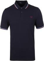 Fred Perry M3600 Navy & Glacier Blue Pique Polo Shirt