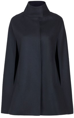 Allora Wool Cashmere Single Breasted Cape Black