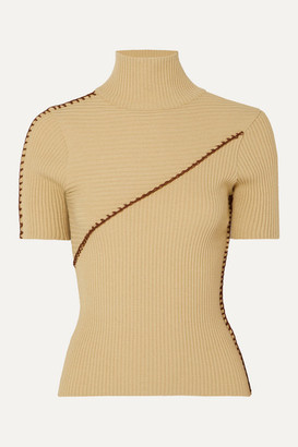 ANDERSSON BELL Paneled Ribbed Turtleneck Sweater - Neutral