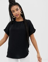 New Look tee with roll sleeves in black