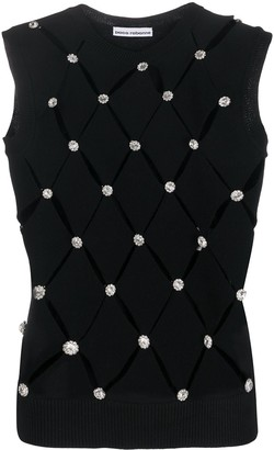 Paco Rabanne Embellished Diamond-Cut Knitted Top