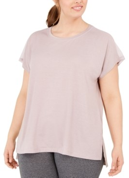 Ideology Plus Size Mesh-Back T-Shirt, Created for Macy's