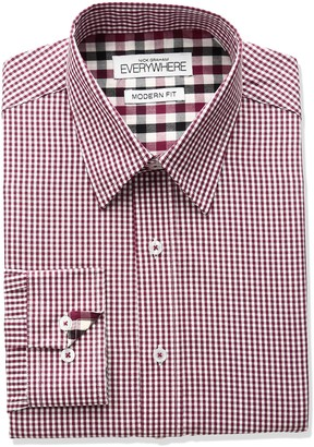 Nick Graham Everywhere Men's Mini Gingham Point Collar Dress Shirt
