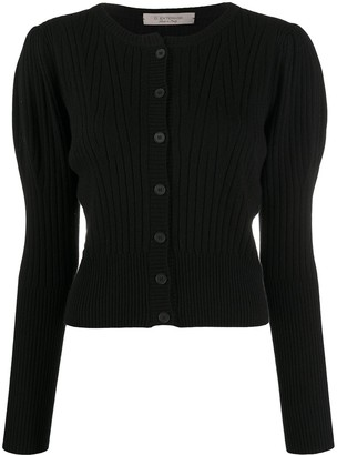 D-Exterior Ribbed Knit Cardigan