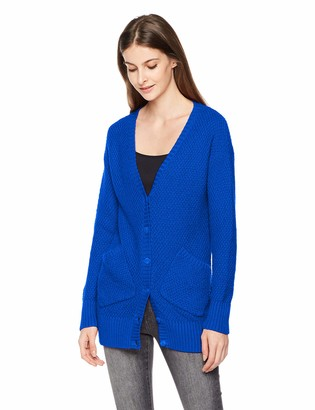 True Angel Women's Allover Seed Stitch Long Sleeve with Two Pockets Knitted Cardigan L Thurston Blue
