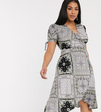 AX Paris Plus mini wrap dress in bandana print