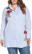 Glamorous Plus Size Women's Embroidered Stripe Shirt