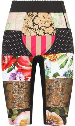 Dolce & Gabbana Patchwork Jacquard Cycling Shorts