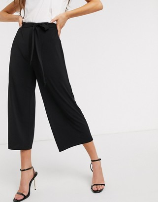 Vero Moda tie waist culottes in black
