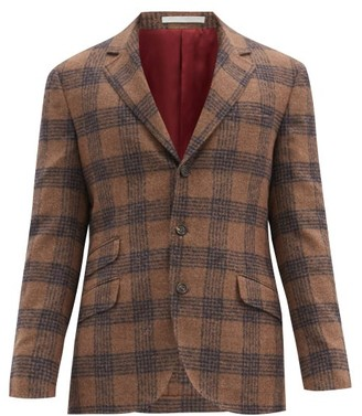 Brunello Cucinelli Single-breasted Checked Alpaca-blend Blazer - Brown Multi