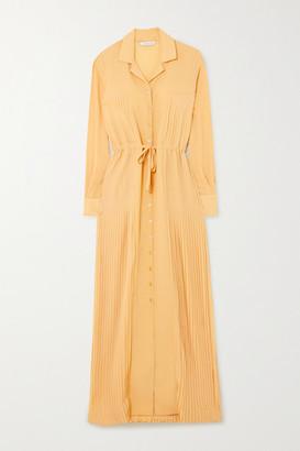 HOLZWEILER Tyrannosaurus Pleated Cotton-seersucker Maxi Dress - Yellow
