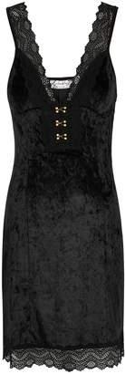 Free People Wait For It Black Velvet Mini Dress