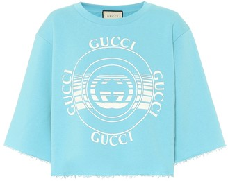 Gucci Printed cotton cropped sweatshirt