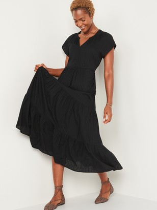 Old Navy Waist-Defined Textured-Dobby Maxi Dress for Women