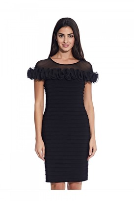 Adrianna Papell Matte Jersey Rosette Sheath Dress In Black
