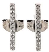 Sydney Evan Medium Bar Black Gold Earrings With Black Diamonds
