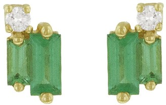 Suzanne Kalan Layered Emerald Baguettes and Round Diamond Stud Yellow Gold Earrings